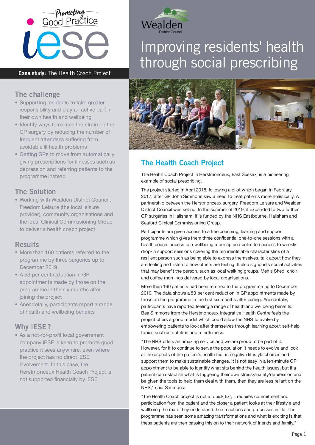Social Prescribing Improves Health